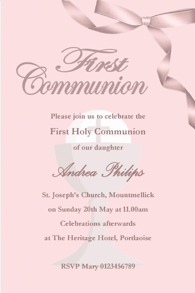 Free Scratch Cards >> Personalised First Communion Invitations Girl New Design 1
